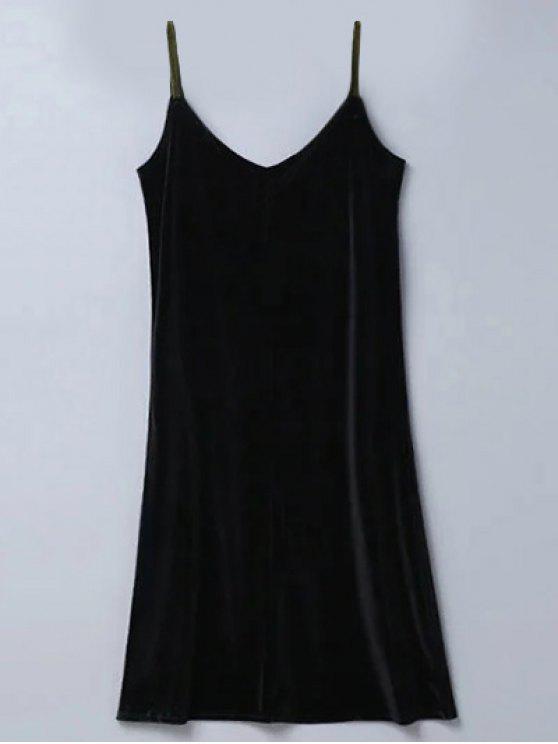 fancy Casual Velvet Midi Dress - BLACK S