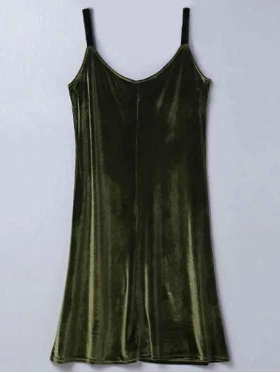 sale Casual Velvet Midi Dress - ARMY GREEN M