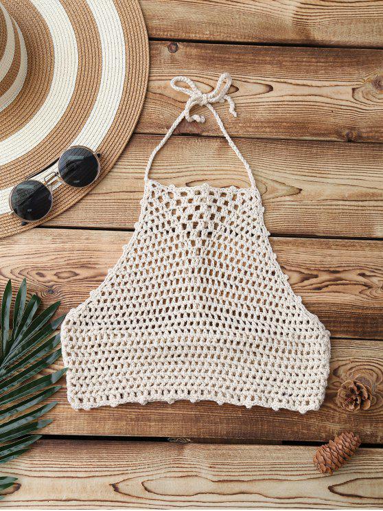 Crochet Cuello Alto Swim Top - Albaricoque Única Talla