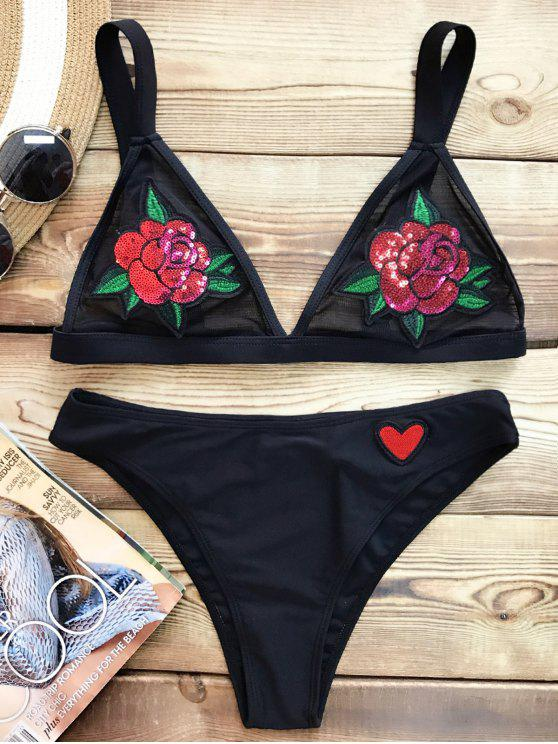ladies Sequins Floral Sheer Bralette Bikini Swimsuit - BLACK M