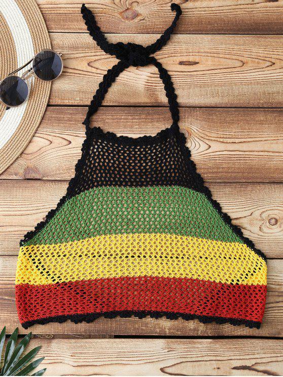 women Color Block Halter Crochet Cute Bathing Suit Top - COLORMIX ONE SIZE
