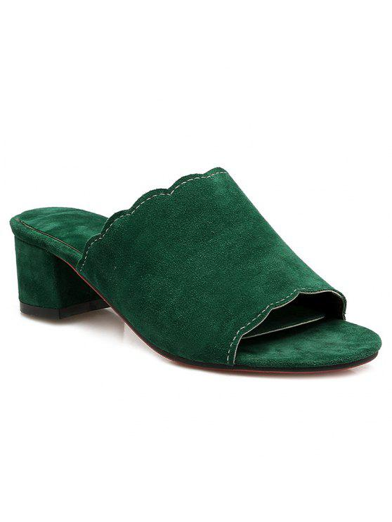 chic Scalloped Suede Slippers - GREEN 39