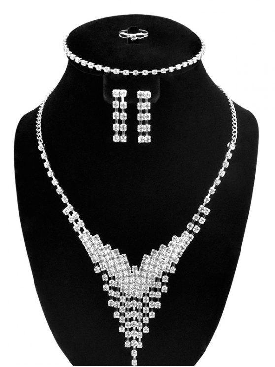 حجر الراين V- على شكل مجموعة مجوهرات - فضة