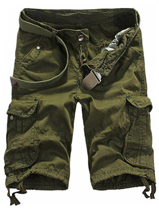 buy Loose Fit Straight Leg Multi-Pocket Lacing Cuffs Zipper Fly Shorts For Men - ARMY GREEN 32
