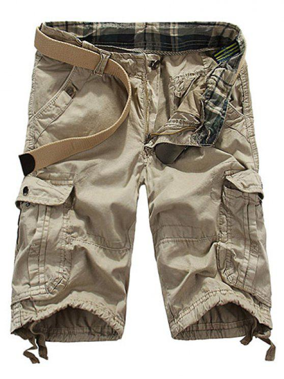 women Loose Fit Straight Leg Multi-Pocket Lacing Cuffs Zipper Fly Shorts For Men - NATURAL WHITE 31
