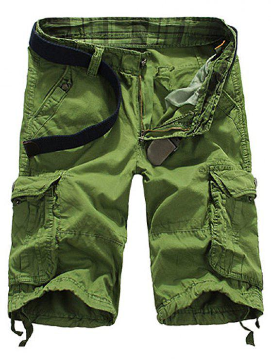 Pantalones Cortos de la Pierna de Cremallera Pierna Recta Ajuste Flojo Apto para los Hombres - Verde Manzana 32