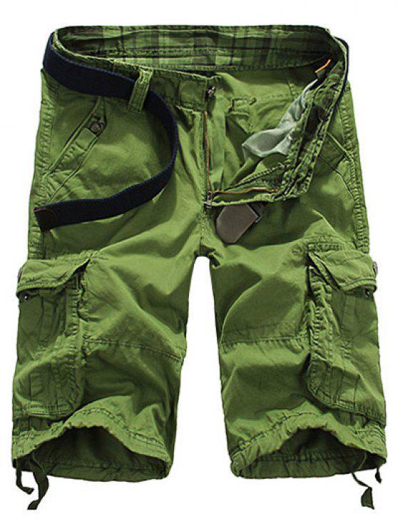 women's Loose Fit Straight Leg Multi-Pocket Lacing Cuffs Zipper Fly Shorts For Men - APPLE GREEN 32