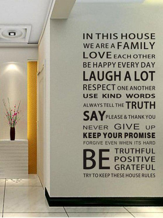 new We Are Family Quote Wall Stickers For Living Room - BLACK 60*90CM & We Are Family Quote Wall Stickers For Living Room BLACK: Wall Art 60 ...