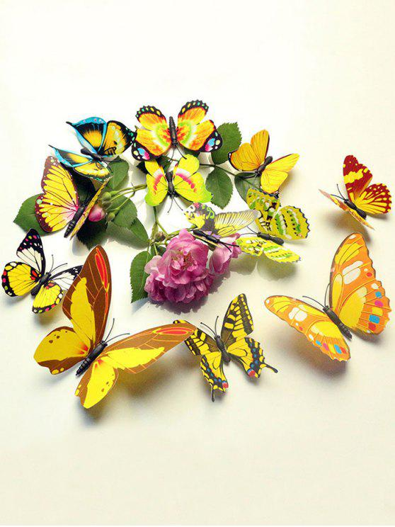 Nice Hot 12 Pcs Simulation Butterfly Home Decor Wall Stickers   YELLOW