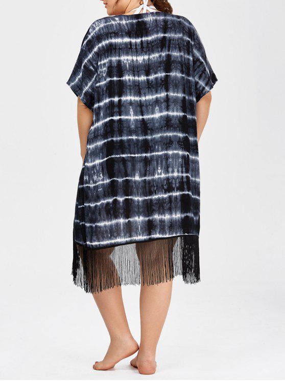 54eda1bd69 fancy Plus Size Tie Dye Fringe Long Beach Cover Up Kimono - BLACK ONE SIZE