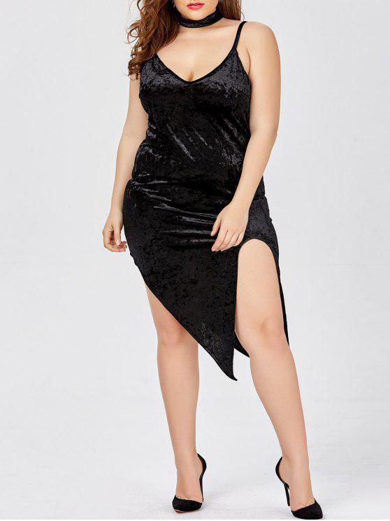 ea8904c14f1 33% OFF  2019 Slit Choker Plus Size Velvet Party Hot Dress In BLACK ...