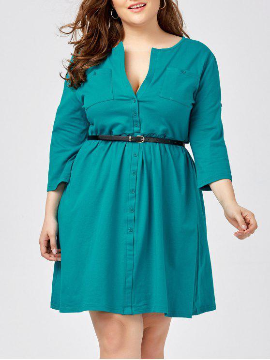 Plus Size Long Sleeve Button Down Shirt Dress with Belt BLACK BLUE GREEN  PINK