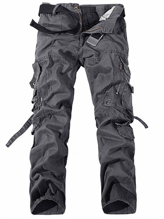 جيوب معدنية سستة تصميم مستقيم الساق البضائع السراويل - رمادي 33