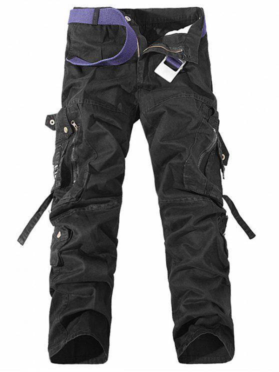 جيوب معدنية سستة تصميم مستقيم الساق البضائع السراويل - أسود 40