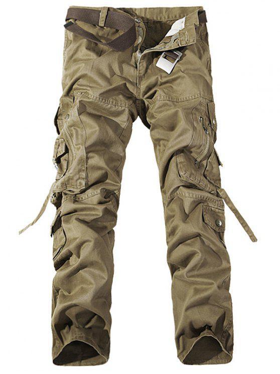 جيوب معدنية سستة تصميم مستقيم الساق البضائع السراويل - كاكي 34