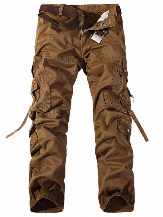 جيوب معدنية سستة تصميم مستقيم الساق البضائع السراويل - ترابي 38
