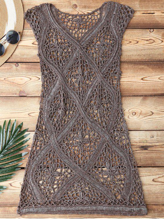 best Crochet V Neck Cover Up - TAUPE ONE SIZE