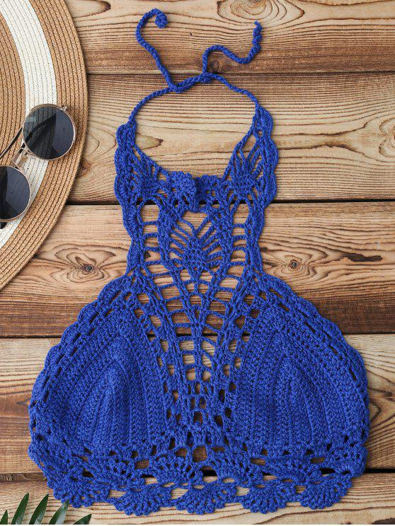 Recortable superior del bikini de ganchillo - Azul Única Talla