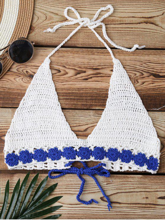 buy Crochet Back Lace Up Swim Top - WHITE ONE SIZE
