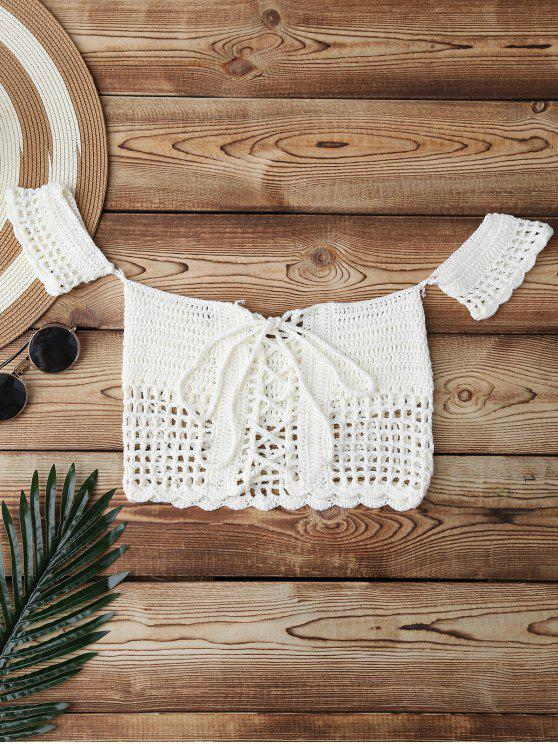 new Knitted Off Shoulder Cover Up Top - WHITE ONE SIZE
