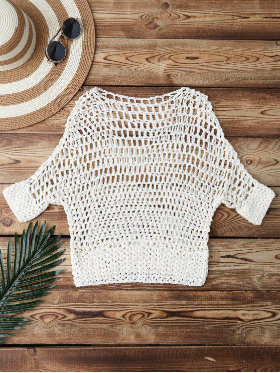 online Hollow Out Crochet Cover Up - WHITE ONE SIZE