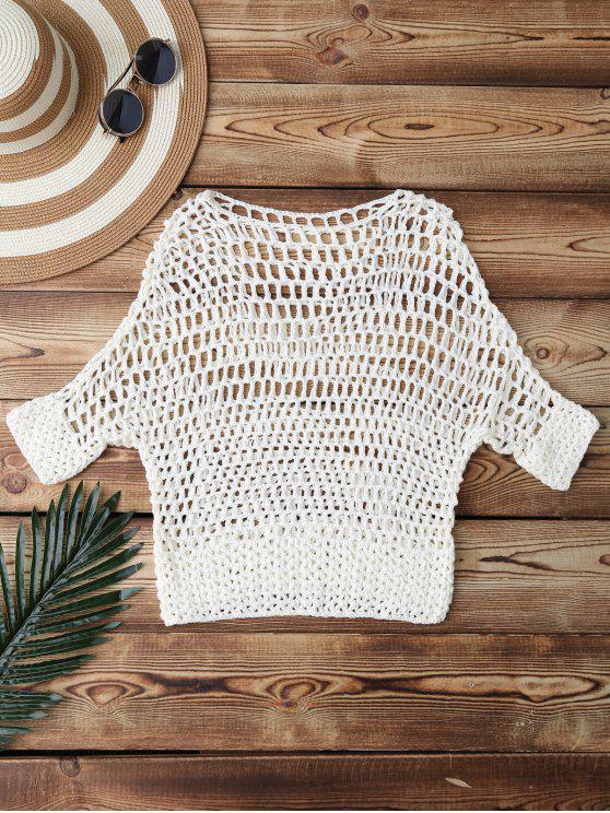 Scavi fuori Crochet Cover Up - Bianco Una Taglia