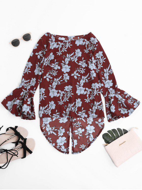 women Floral Asymmetric Chiffon Blouse - WINE RED S