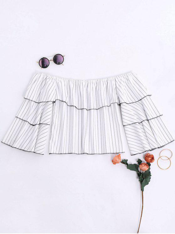 best Ruffles Striped Off The Shoulder Blouse - WHITE L