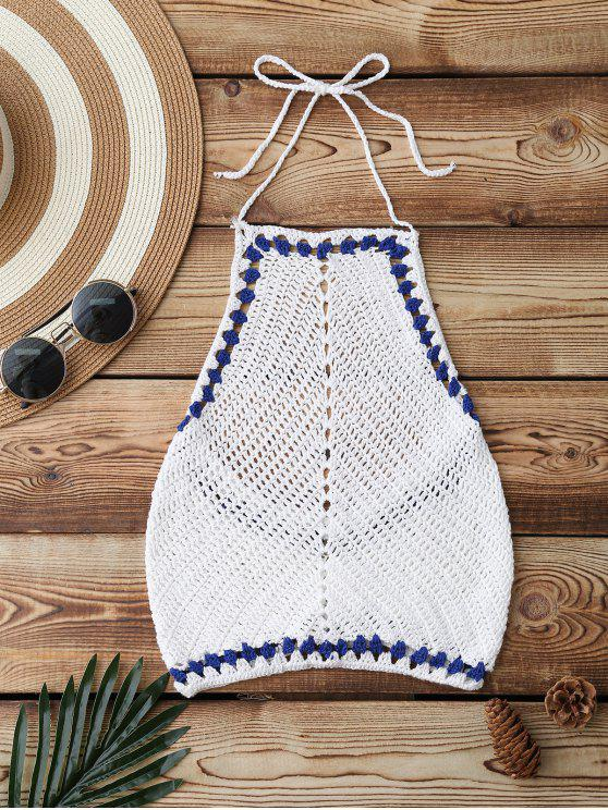 outfit Crochet Cute Cropped Bathing Suit Top - WHITE ONE SIZE
