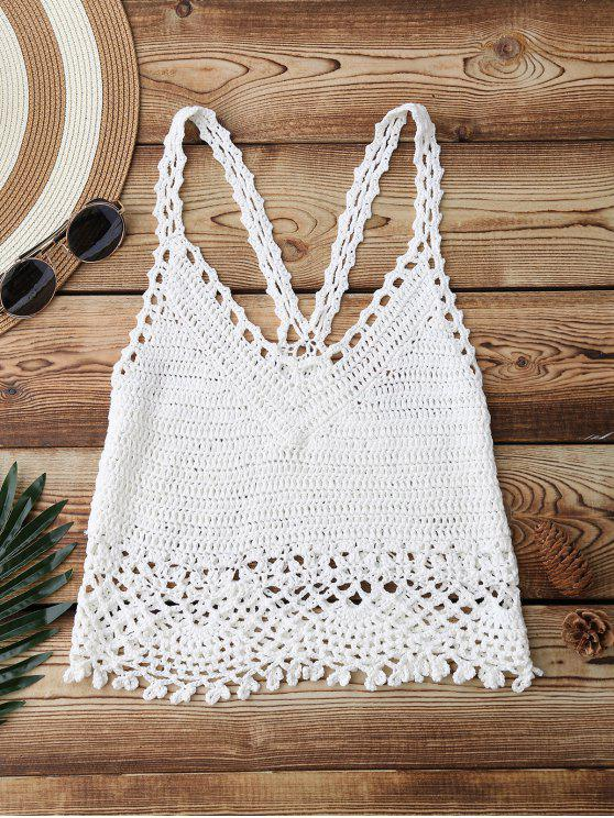 db8e62b500 59% OFF  2019 Crochet Crop Cover Up Top In WHITE