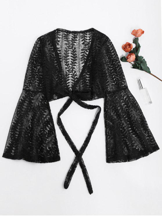outfits Flare Sleeve Crop Wrap Lace Top - BLACK L