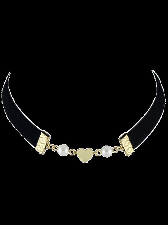 Collar Gargantilla de terciopelo de imitación de la perla del corazón - Negro