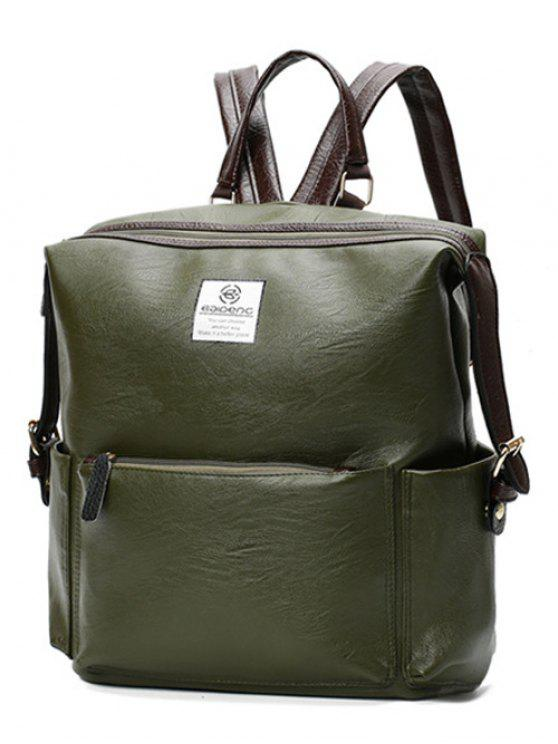Buckle Straps Faux Leather Backpack - Verde oliva