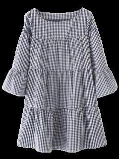 Robe Droite Décontractée à Carreaux  - Bleu Violet M