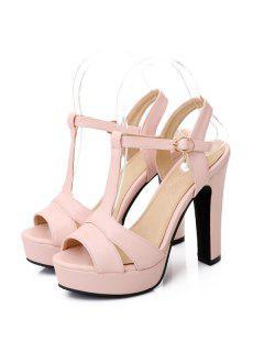 T Bar Platform Sandals - Pink 38