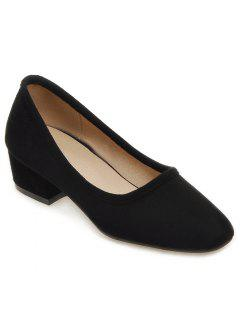 Square Toe Mid Heel Pumps - Black 38