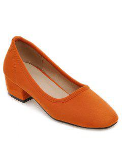 Square Toe Mid Heel Pumps - Deep Orange 39