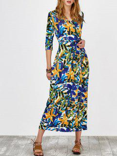 Self Tie Chiffon Printed Wrap Dress - Xl