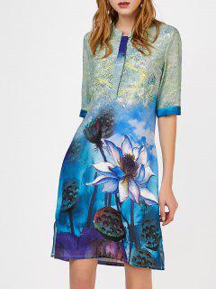 Impresión Floral De Corte Largo Collar Con Muescas Vestido De Cambio - M