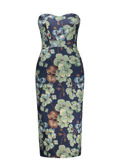 Strapless Empire Waist Floral Print Pencil Dress - S