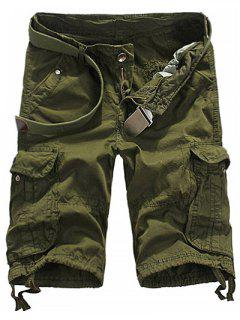 Loose Fit Straight Leg Multi-Pocket Lacing Cuffs Zipper Fly Shorts For Men - Army Green 29
