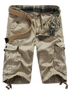 Loose Fit Straight Leg Multi-Pocket Lacing Cuffs Zipper Fly Shorts For Men - Natural White 31