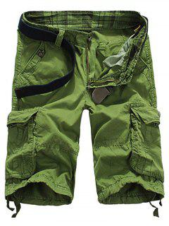 Loose Fit Straight Leg Multi-Pocket Lacing Cuffs Zipper Fly Shorts For Men - Apple Green 32