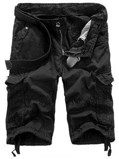 Loose Fit Straight Leg Multi-Pocket Lacing Cuffs Zipper Fly Shorts For Men - Black 36