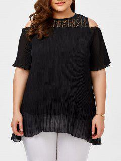 Plus Size Lace Insert Cold Shoulder Chiffon Blouse - Black 2xl