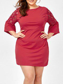 Plus Size Lace Hollow Out Bell Sleeve Dress - Red 6xl