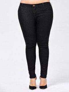 Plus Size Skinny Jeans With Pocket - Black 5xl