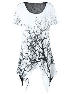 Plus Size Tree Print Asymmetrical T-Shirt - White And Black 5xl