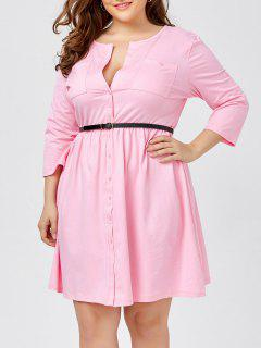 Plus Size Long Sleeve Button Down Shirt Dress With Belt - Pink 6xl
