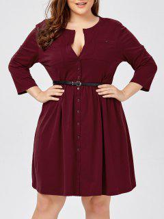 Plus Size Long Sleeve Button Down Shirt Dress With Belt - Claret 6xl